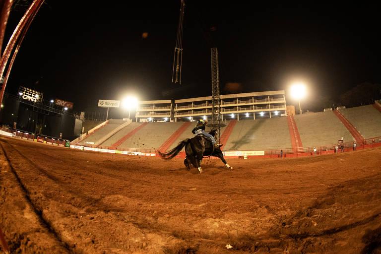 Imagem mostra uma mulher montando cavalo em prova no estádio vazio