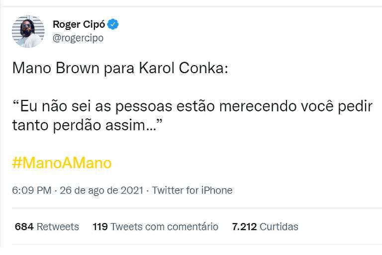 Tweet Roger Cipó