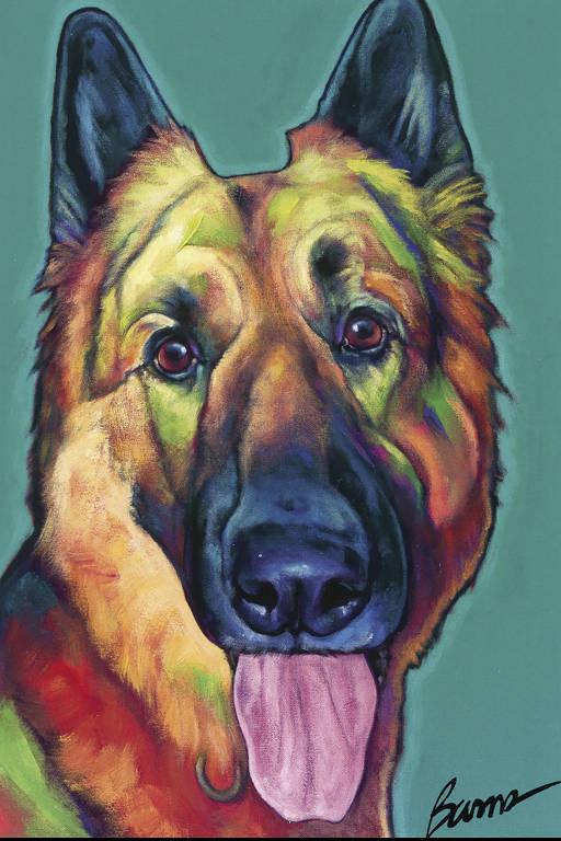 Pintura 'Otto' de Ron Burns, parte da exposição Ò9 / 11 Os cães de busca e resgate que vasculharam os destroços do World Trade Center, tentando encontrar sobrevivente