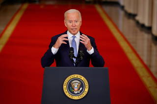 U.S. President Biden speaks about Afghanistan at the White House in Washington
