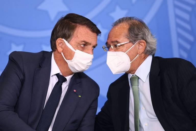 Presidente Jair Bolsonaro e ministro Paulo Guedes (Economia)