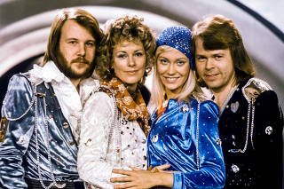 FILE PHOTO: Swedish pop group Abba: Benny Andersson, Anni-Frid Lyngstad, Agnetha Faltskog and Bjorn Ulvaeus pose after winning the Swedish branch of the Eurovision Song Contest with their song