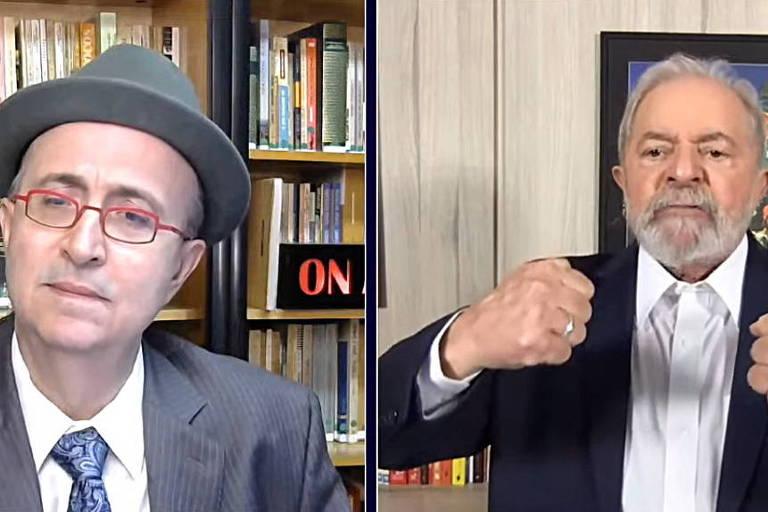 Print de tela mostra Azevedo à esquerda; ele é branco, usa chapéu e está de terno e gravata; na metade da esquerda, está Lula, também de terno e gravata