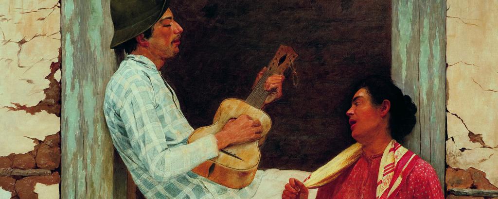 Pintura de cena de homem tocando viola sentado na janela; do lado de fora, uma mulher com lenço no pescoço acompanha a música cantando