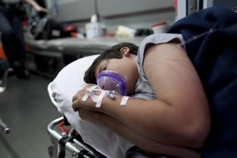 Criança deitada em uma maca de hospital segura próximo a boca um respirador.