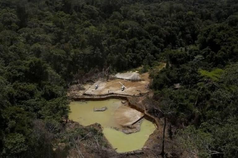Imagem aérea mostra área de vegetação e um lago