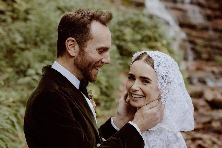 Lily Collins se casa com diretor Charlie McDowell: 'Nunca fui tão feliz'