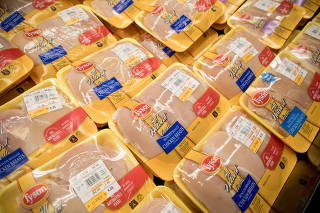 Packages of Òall naturalÓ chicken breasts from Tyson Foods at a Kroger in Franklin, Ind., July 20, 2021. (Kaiti Sullivan/The New York Times)