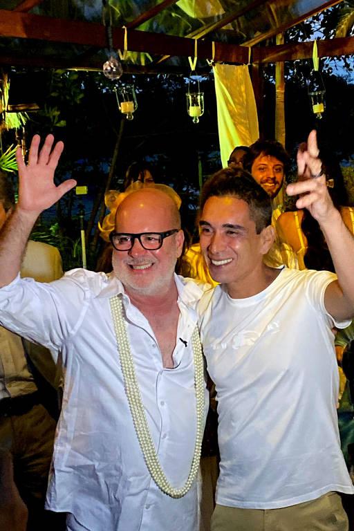 Os noivos  Eder Meneghine e o chef Hugo Oliveira