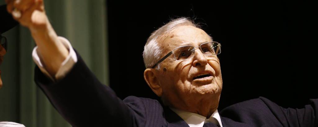 Dom Paulo Evaristo Arns em evento de comemoração aos seus 95 anos, em 2016
