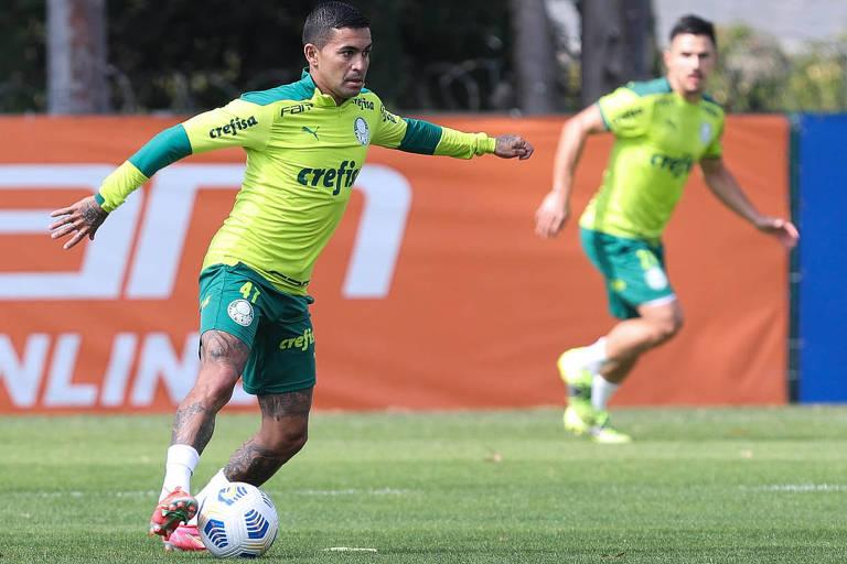 O atacante Dudu deve ser titular do Palmeiras no duelo com o Flamengo