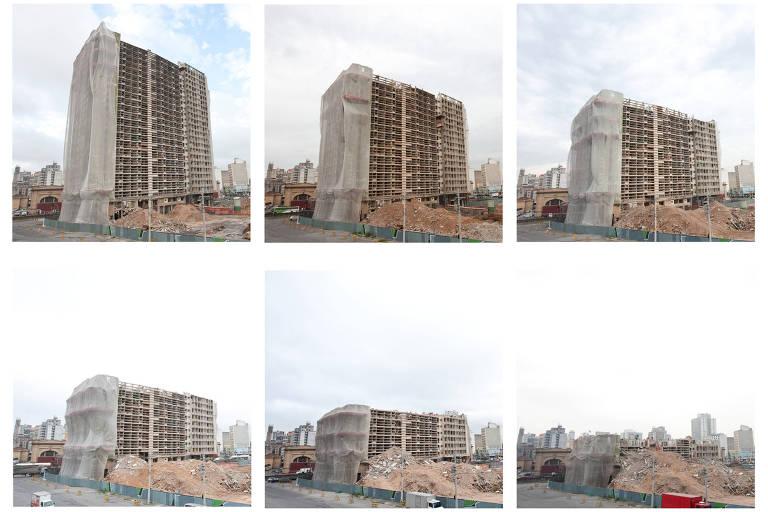 Montagem das fotos realizadas entre dezembro de 2010 e abril de 2011 sobre a demolição do edifício São Vito e do edifício Mercúrio, localizados na região central de São Paulo