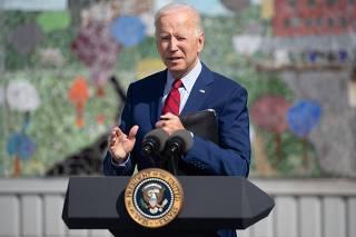 US President Joe Biden and First Lady Jill Biden visit a local school