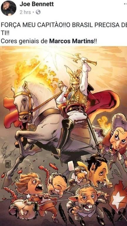 quadrinho mostrando um cavaleiro esmagando figuras políticas como lula, dilma e michel temer
