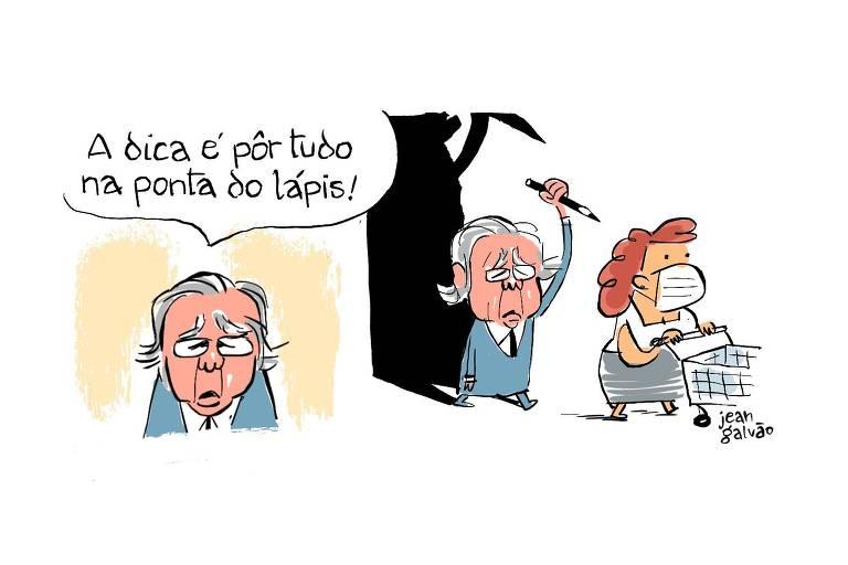 """Charge em duas cenas. Na primeira, caricatura do ministro Paulo Guedes diz: """"a dica é pôr tudo na ponta do lápis!"""" Na segunda cena, ele aparece com um lápis na mão, em um movimento que remete à tentativa de esfaquear pelas costas uma mulher, que usa máscara contra Covid-19 e empurra um carrinho de supermercado"""