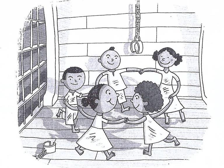 crianças brincam de roda em navio negreiro