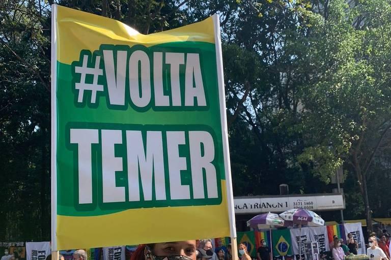 Ato contra Bolsonaro inclui 'volta Temer' e Che Guevara em mistura 'de sushi com picanha'