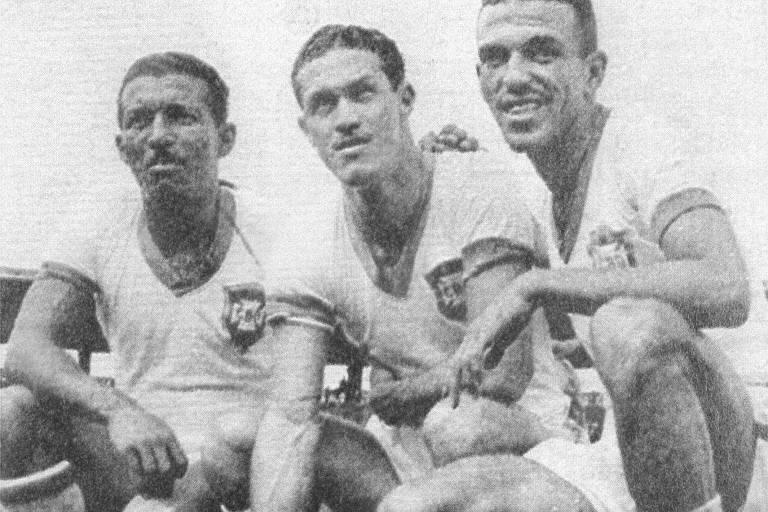Da esquerda para a direita: Zizinho, Ademir e Jair, ataque da seleção brasileira na Copa do Mundo de 1950