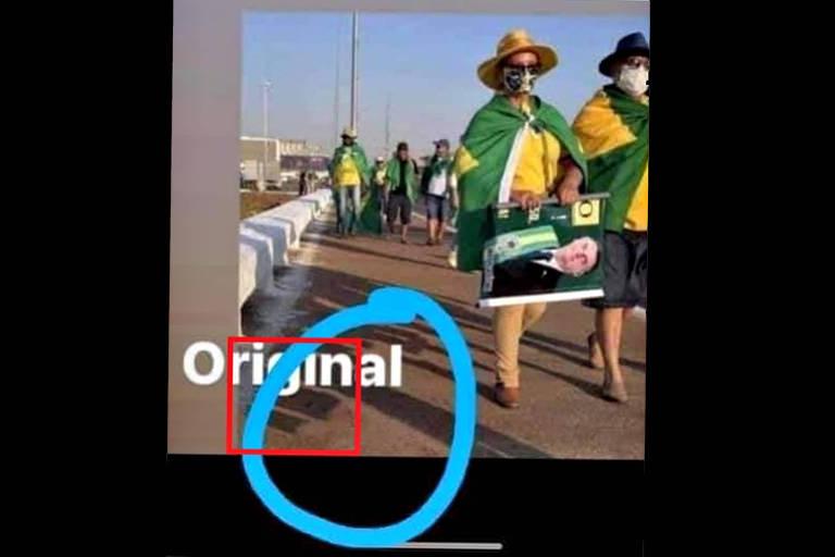 Mesma foto anterior, de duas pessoas de verde e amarelo andando, mas a pessoa deitada no chão foi apagada nesta imagem