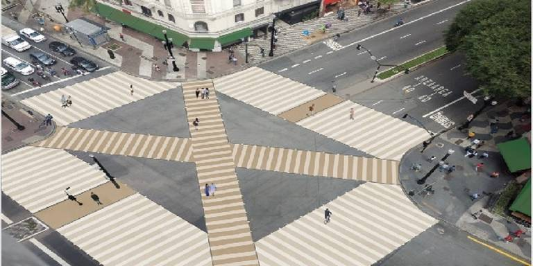 Desenhos de prédios históricos serão aplicados na calçada