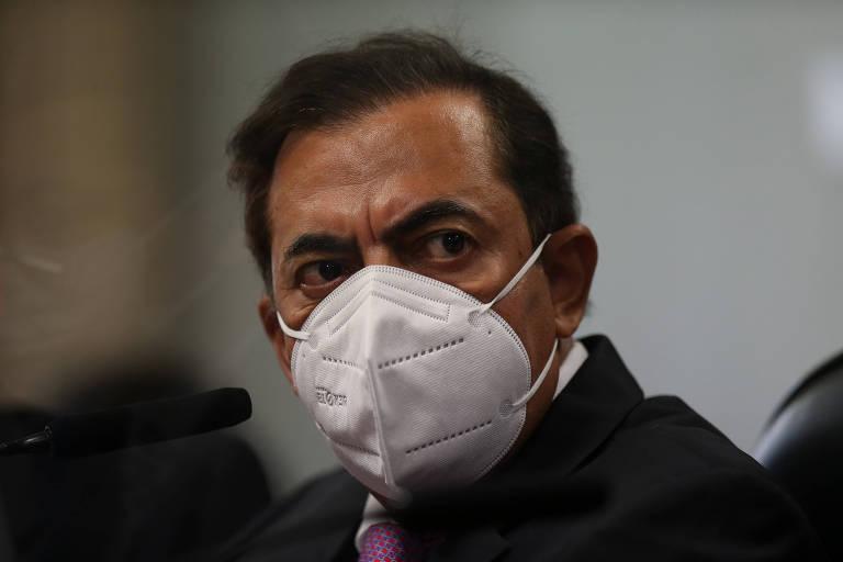 O advogado Marcos Tolentino durante depoimento à CPI da Covid no Senado