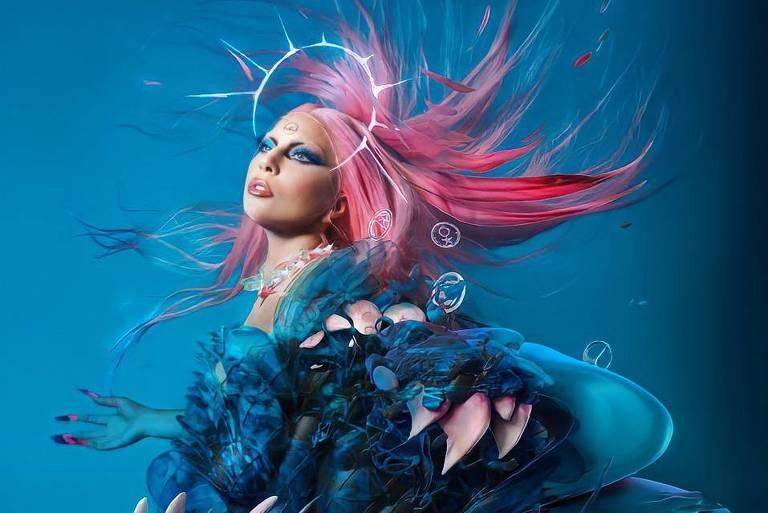 """Lady Gaga em imagem promocional do álbum """"Dawn of Chromatica"""""""