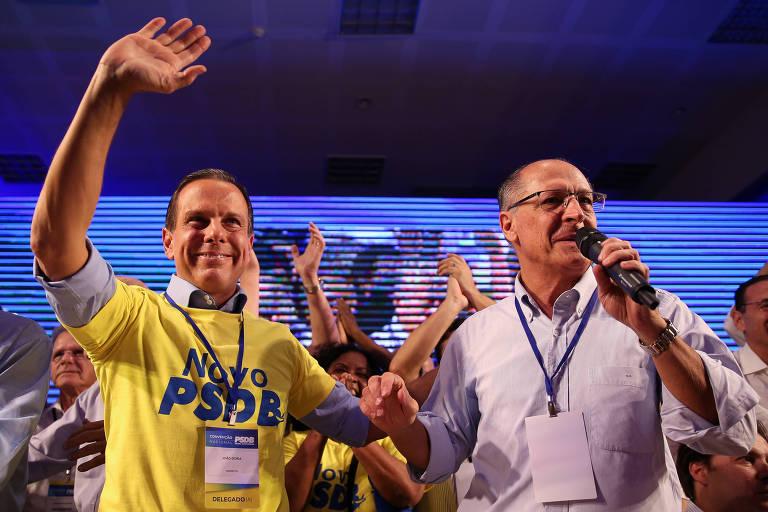 O governador de São Paulo, João Doria, e o ex-governador Geraldo Alckmin, ambos do PSDB