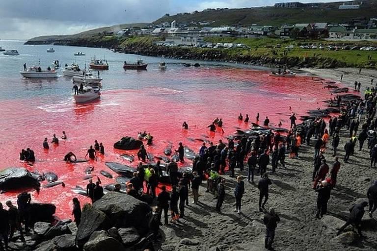 Imagem panorâmica mostra uma praia com água vermelha de sangue. Pessoas na areia observam. Ao fundo se vê embarcações no mar.