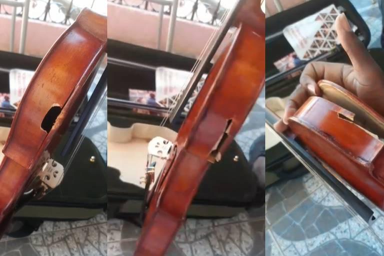 Imagem dividida em três quadros mostra violino atingido por bala