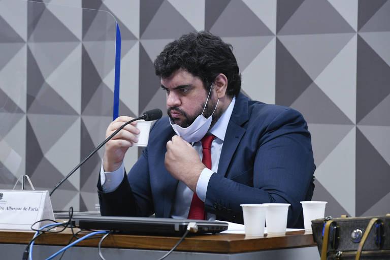 O lobista da Precisa Medicamentos Marconny Albernaz de Faria durante depoimento à CPI da Covid