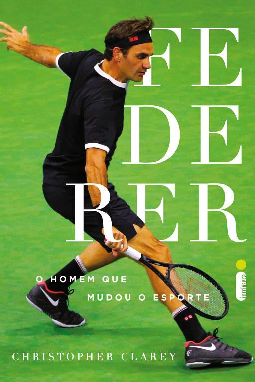 Capa com fundo verde e foto de Federer vestido com uniforme escuro