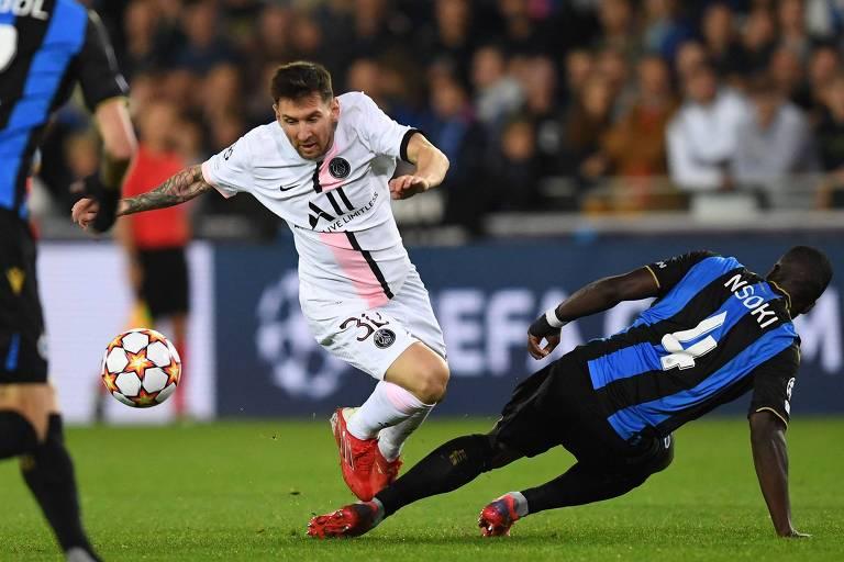 Lionel Messi fez sua estreia como titular do PSG contra o Club Brugge, pela Champions