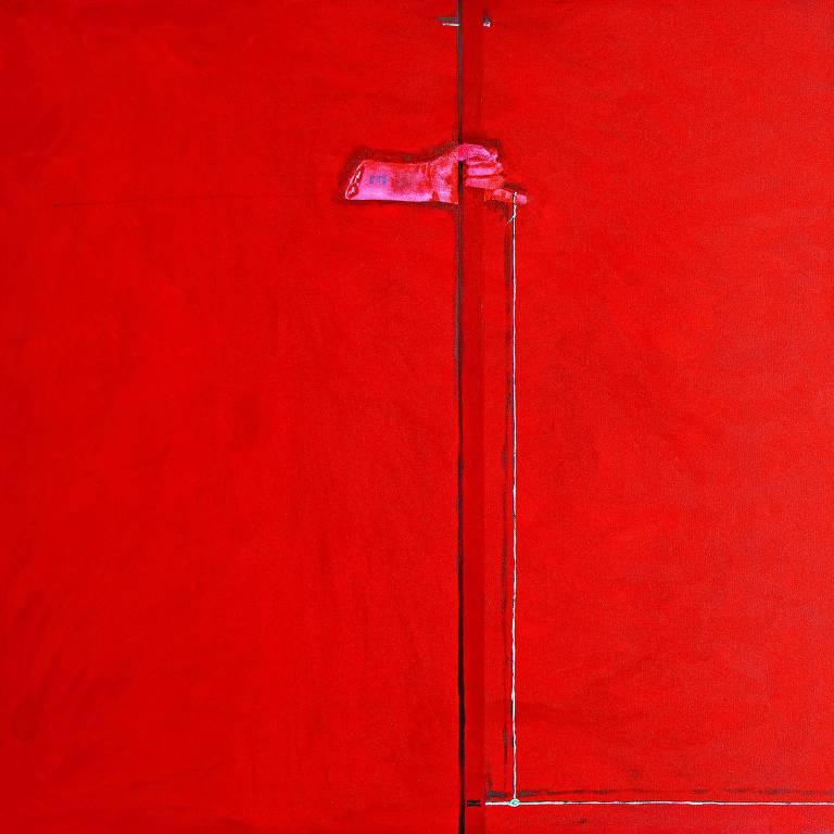 quadro muito vermelho com mão rosada segurando um cano