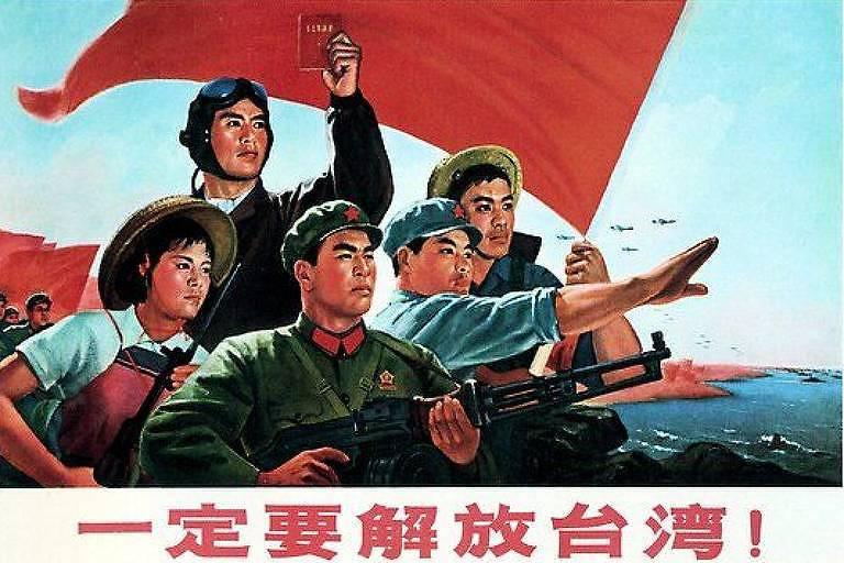 """Ilustração chinesa mostra cinco pessoas, uma bandeira vermelha ao fundo, e a frase """"definitivamente devemos libertar Taiwan"""" em chinês."""