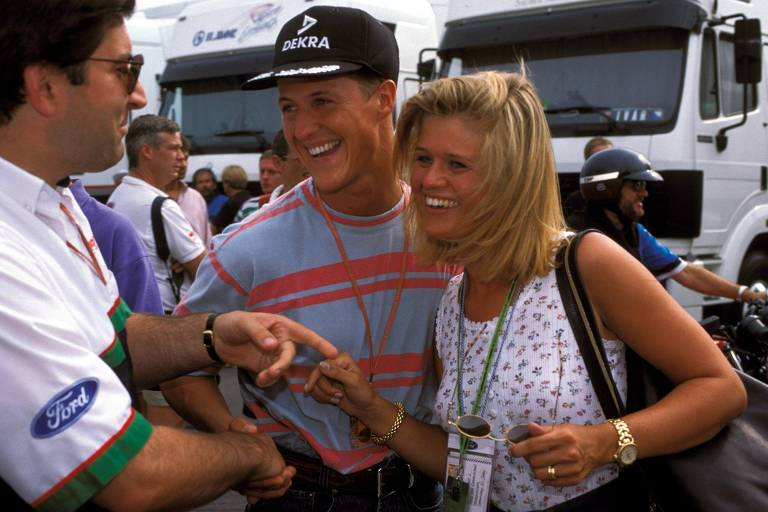 Michael Schumacher ao lado da mulher Corinna