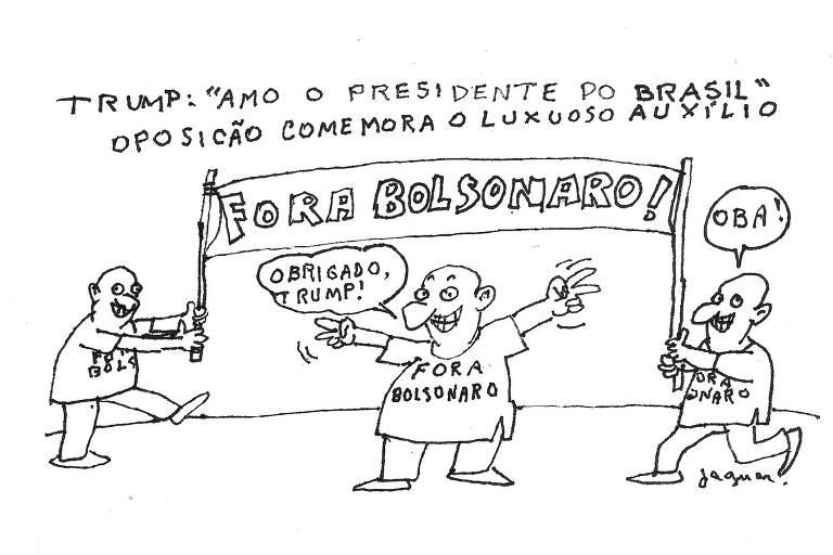 """Charge traz no alto os dizeres: """"Trump: Amo o presidente do Brasil"""" e """"Oposição comemora o luxuoso auxílio"""". Três pessoas vestem camiseta com a inscrição """"Fora Bolsonaro"""", e duas delas seguram uma faixa com a mesma frase. A terceira diz: """"Obrigado, Trump""""."""