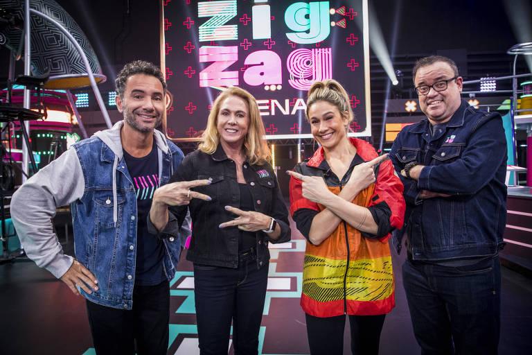 Fernanda Gentil e equipe estão prontos para o game Zig Zag Arena