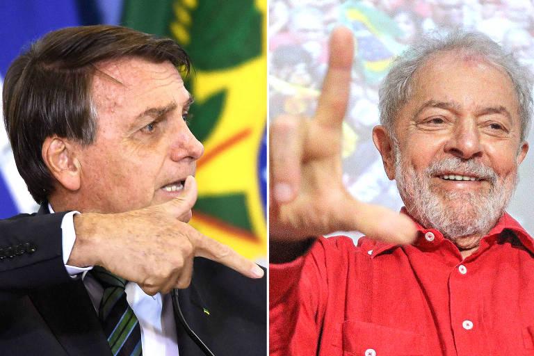 O presidente Jair Bolsonaro e o ex-presidente Luiz Inácio Lula da Silva