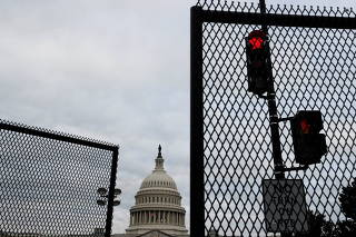 A security fence surrounds the U.S. Capitol ahead of a rally in Washington