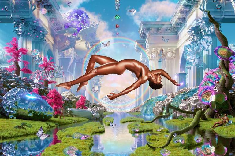 homem nu levita sobre um rio, rodeado de vegetações, borboletas coloridas e arquitetura monumental