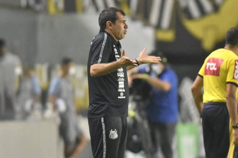 O técnico Fábio Carille, que assumiu o Santos no lugar de Fernando Diniz
