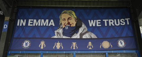 Soccer Football - Women's Super League - Chelsea v Everton - Kingsmeadow, London, Britain - September 12, 2021 Banner of Chelsea manager Emma Hayes in the stands after the match Action Images via Reuters/Andrew Boyers
