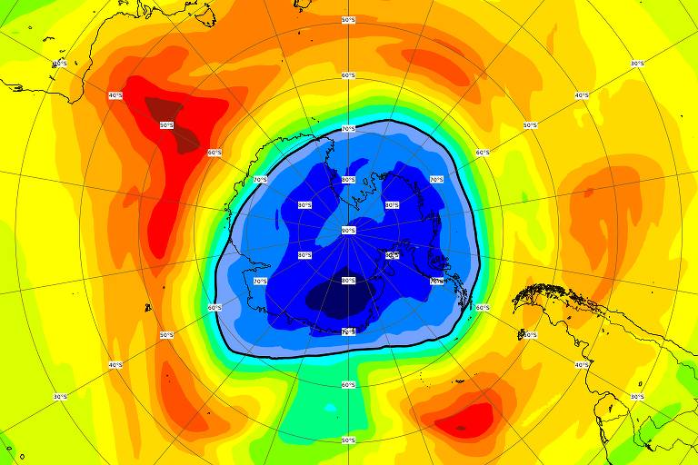 Buraco na camada de ozônio sobre o polo Sul já supera tamanho da Antártida