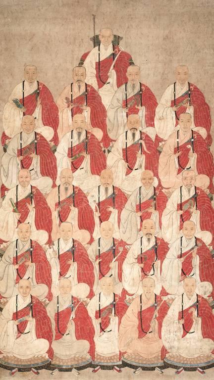 Retrato de mongs budistas da seita Obaku, do século 17