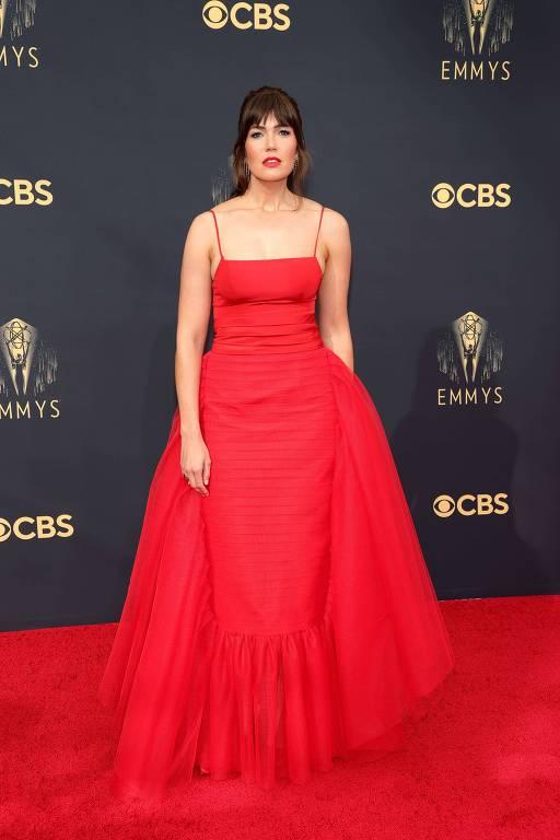 A atriz Mandy Moore, de 'This is Us', chega ao Emmy, em Los Angeles