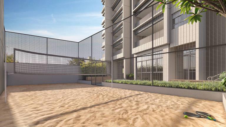 Ilustração de quadra para tênis de praia em área de prédio