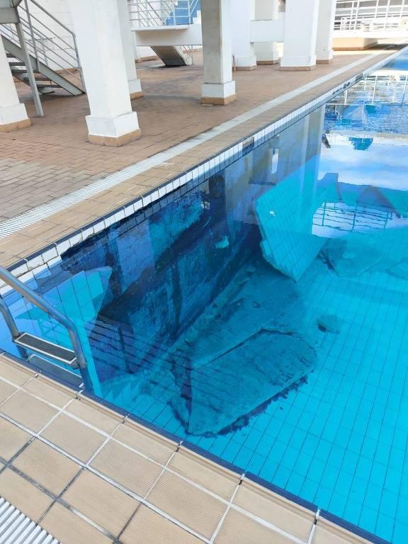 Parede interna da piscina de saltos do Complexo do Ibirapuera caiu e não foi arrumada pelo governo do estado de SP