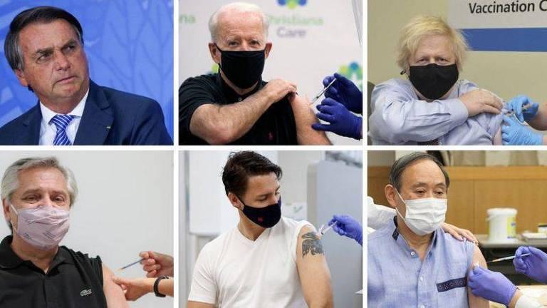 Maioria dos líderes tomaram vacinas e compartilharam as imagens. Foto: BBC, com imagens de Reuters, Governo do Reino Unido, Reprodução