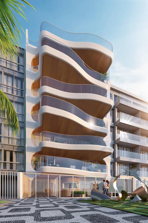 Fachada de prédio com sacadas curvas