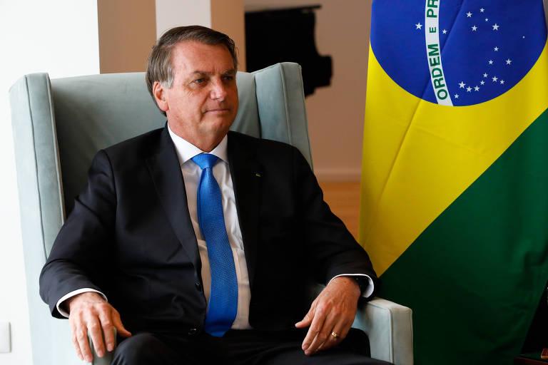 Presidente da República, Jair Bolsonaro, durante encontro com o primeiro-ministro britânico, Boris Johnson, nesta segunda-feira (20)